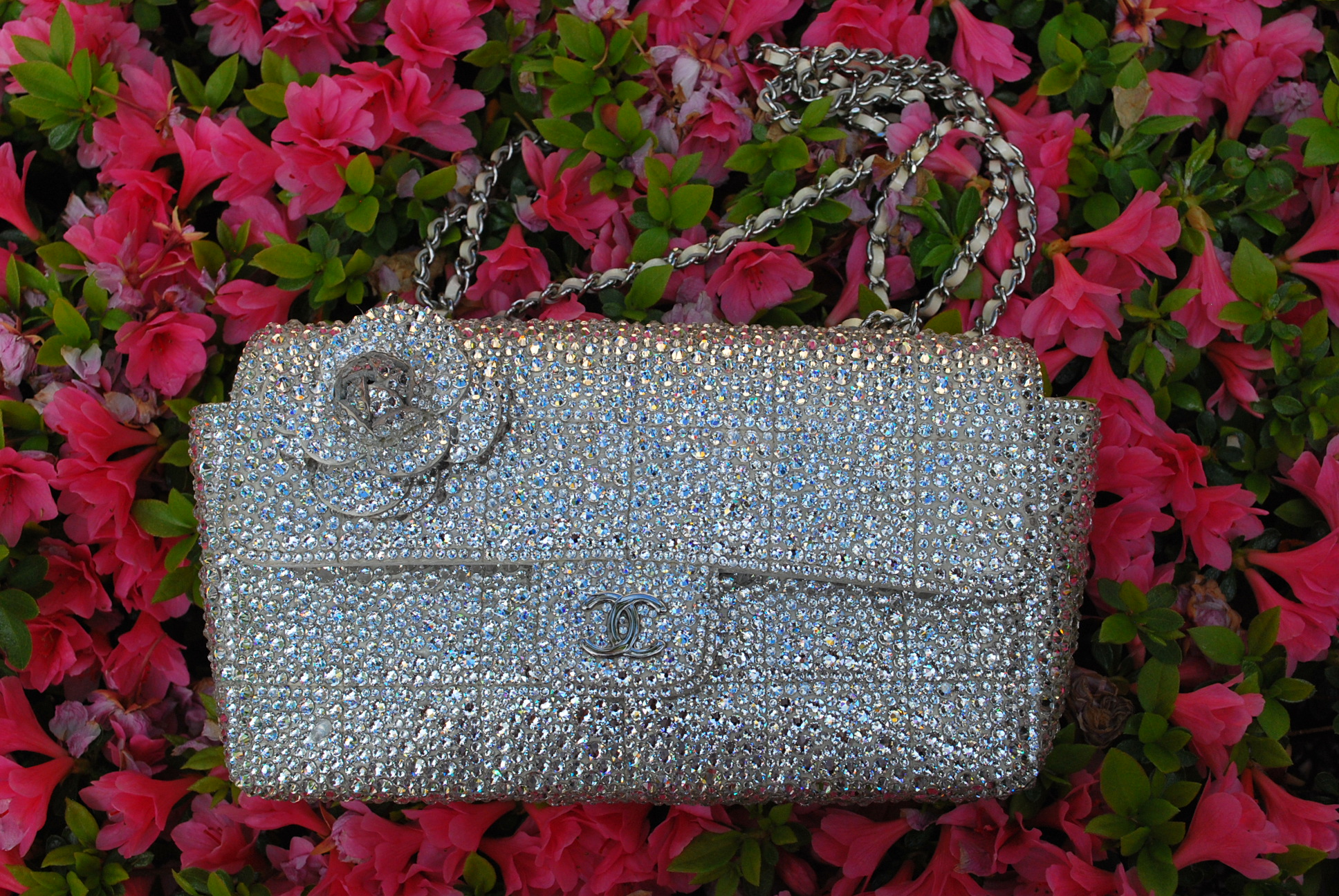 4b9fc637cce7 Chanel Camellia Mini Chocolate Bar Strass Bag – Red Soles Reborn